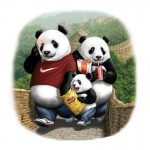 Panda family out for a stroll in China